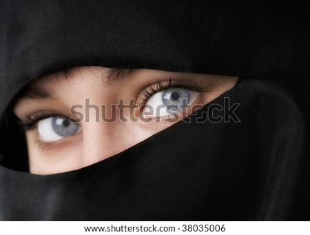 Stock Photo Beautiful Woman in Middle Eastern Niqab veil