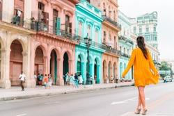 Beautiful woman in popular street in old Havana on Cuba