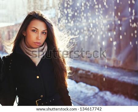beautiful woman in rainy day
