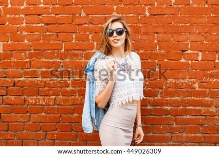 beautiful woman in stylish...