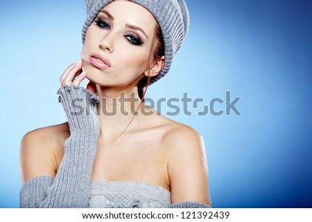 beautiful woman in warm clothing - stock photo