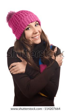 beautiful woman in warm clothing closeup portrait