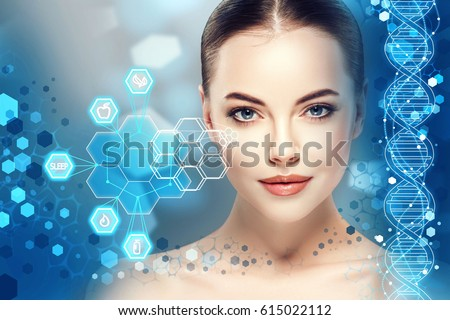 Beautiful woman info-graphic portrait with information and healthy concept #615022112