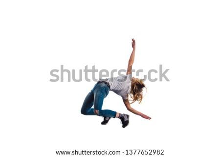 Beautiful woman is doing amazing aerobic exercise