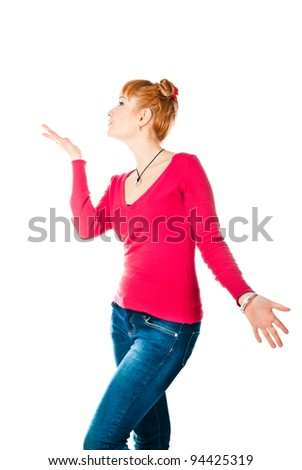 beautiful woman isolated on a white background
