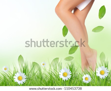 Beautiful woman legs in a grass - stock photo