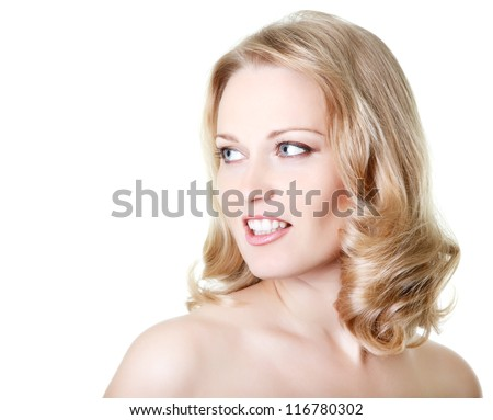 beautiful woman looking right at copy space, mid adult female face and shoulders closeup, isolated on white background - stock photo