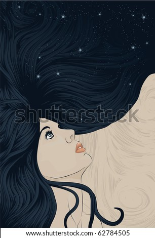 Beautiful woman looking up with hair flowing into space