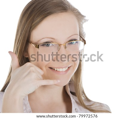 beautiful woman making a call me gesture over white