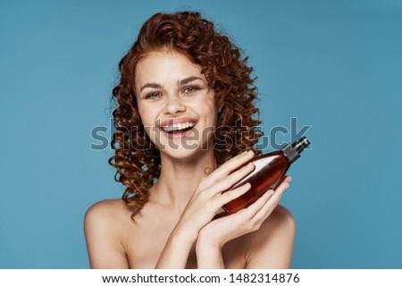 beautiful woman naked shoulders grass hair charm skin charm