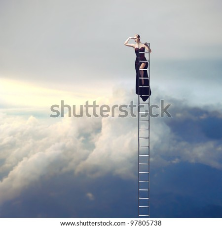 Beautiful woman on a ladder above the clouds looking far away