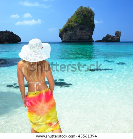 Beautiful woman on the beach. Phi phi island. Thailand - stock photo