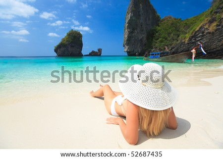 Beautiful woman on the beach. Phi phi island. Thailand
