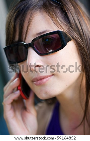 beautiful woman on the phone calling
