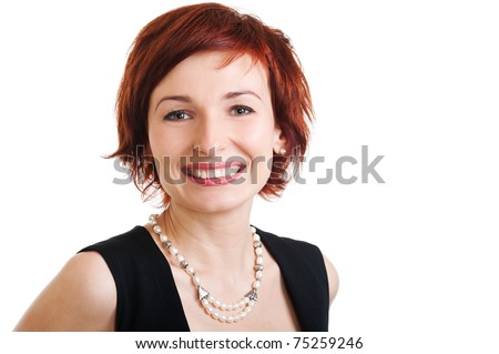 beautiful woman on white background stares at you