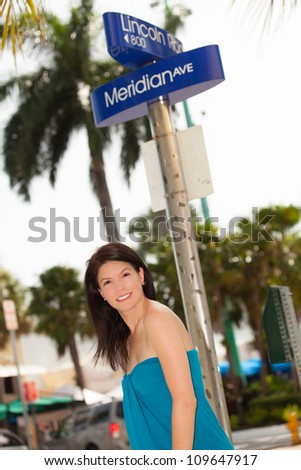 Beautiful woman outdoor portrait in a shopping mall.