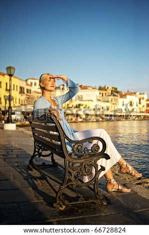 Beautiful woman outdoors - stock photo