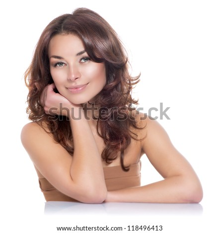 Beautiful Woman Portrait. Beauty Girl. Fresh Skin.Isolated on a White Background. Skincare.Spa