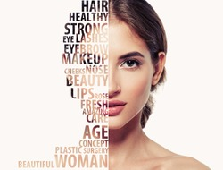 Beautiful woman portrait beauty skincare concept with letters on face