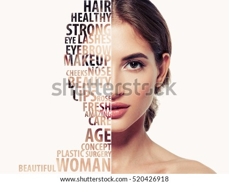 Beautiful woman portrait beauty skincare concept with letters on face - Shutterstock ID 520426918
