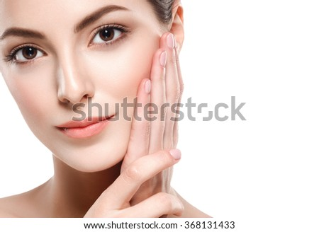 Beautiful woman portrait face studio isolated on white \n