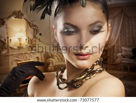 Beautiful Woman Portrait in Classic Interior