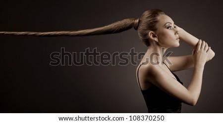 Beautiful Woman Portrait. Long Brown Hair - stock photo