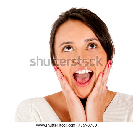 Beautiful woman portrait looking surprised - isolated over white - stock photo