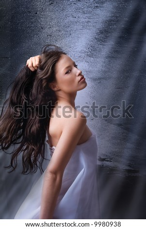 beautiful woman portrait on fantasy background