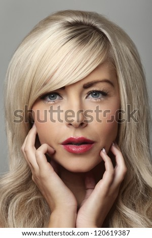 beautiful woman portrait posing in studio