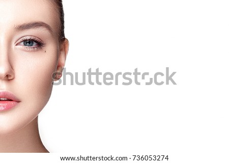 Beautiful woman portrait with fresh clear nude make up, healthy skin, skin care. #736053274