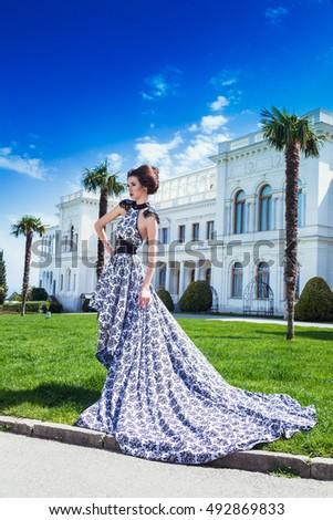 Beautiful woman posing long dress in Livadia #492869833