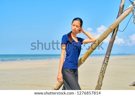 Beautiful woman posing - looking away and introspection
