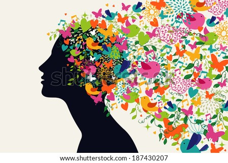Beautiful woman profile, flowers season hair composition.