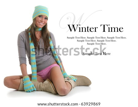 Beautiful Woman Ready for Winter Sample Text Space to the Right