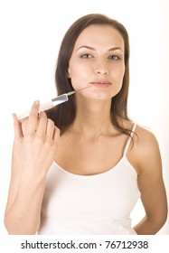 stock photo beautiful woman receiving an injection in her face
