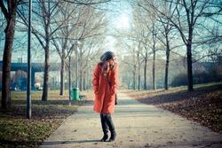 beautiful woman red coat winter