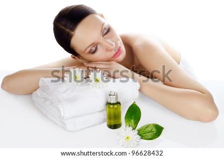 Beautiful woman relaxing in a spa