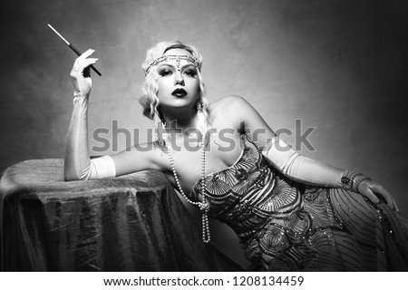 beautiful woman retro flapper style woman black and white foto, roaring 20s #1208134459