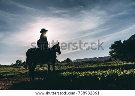 Beautiful woman riding a horse in the countryside. #758932861