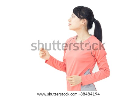 beautiful woman running isolated on white background