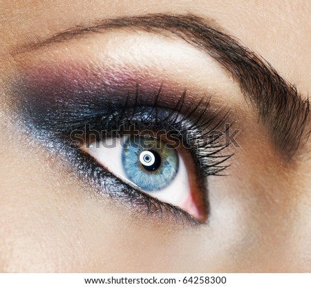 beautiful woman's eyemakeup stock photo 64258300
