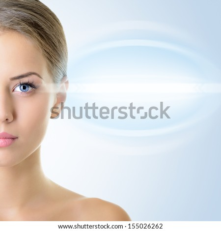 beautiful woman's face with accent on eyes