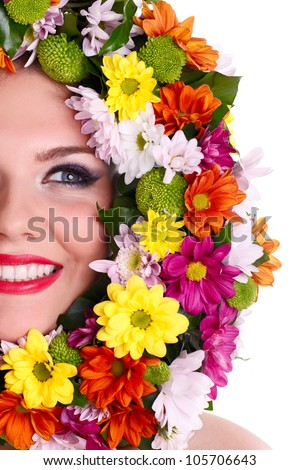 Beautiful woman�s face with  flower wreath around it
