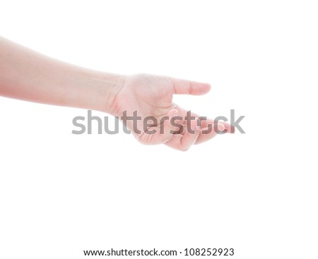 Beautiful woman's hand, palm up isolated on white background
