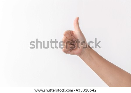 Beautiful woman's hand showing one or like count isolated on white background.  #433310542
