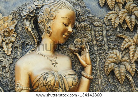 Beautiful woman sculptural form.
