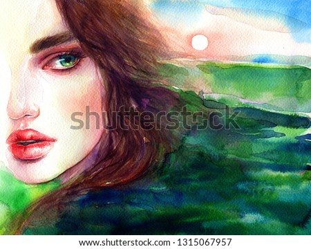 beautiful woman. sea and sky. fantasy illustration. watercolor painting
