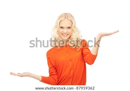 beautiful woman showing something on the palms of her hands
