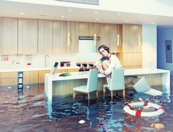 beautiful woman sitting on a chair in flooded kitchen interior. Photo combination concept